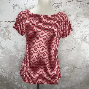 Anthropologie Red Embroidered Bennett Knit Top S